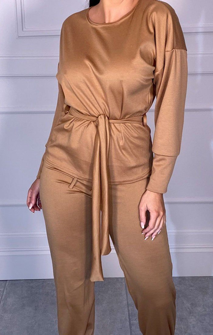 Camel Boxy Long Sleeved Tie Loungewear Set - Leah