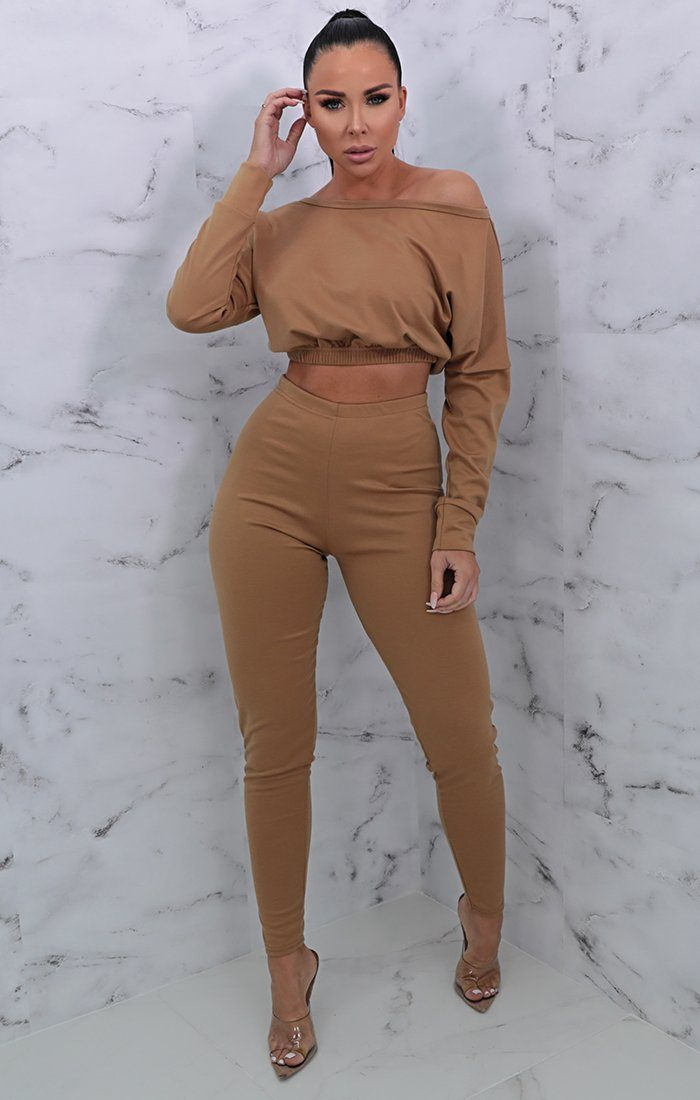 Camel Crew Neck Cropped Loungewear Set - Lola