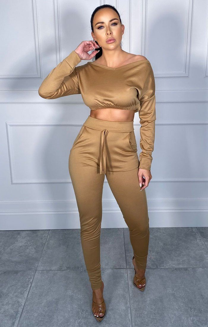 Camel Crop Loungewear Set - Deanna