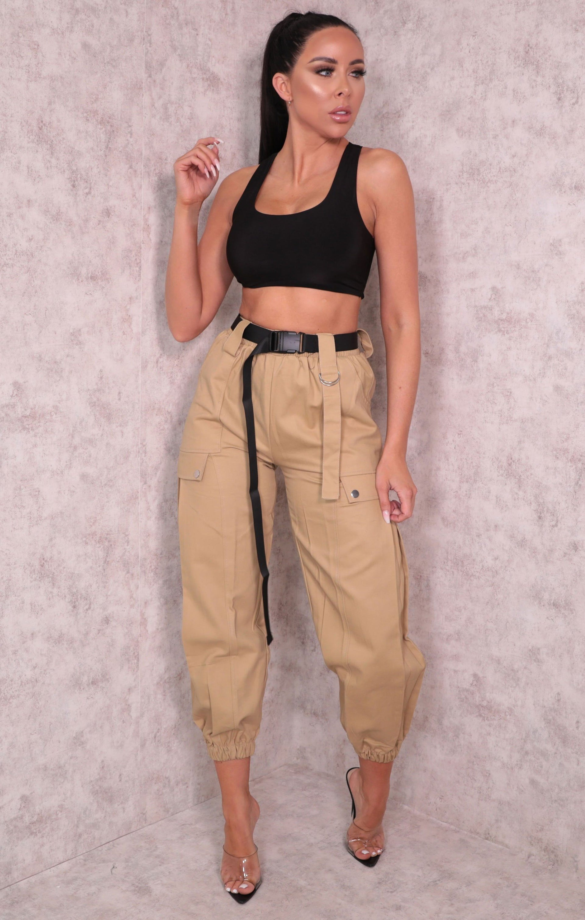 Camel Cuffed Pocket Detail Utility Belt Cargo Slim Leg Trousers - Dalia