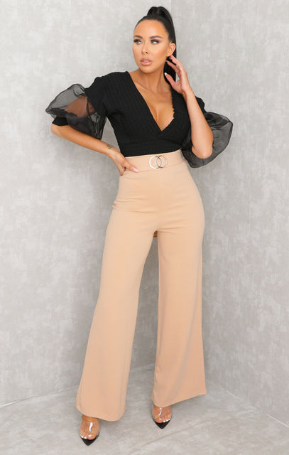 Camel Double Circle Belt Flare Leg Trousers - Priya