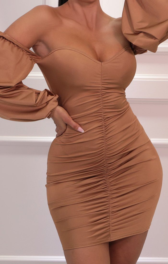 Camel Frill Sleeve Bardot Ruched Bodycon Mini Dress - Jodie