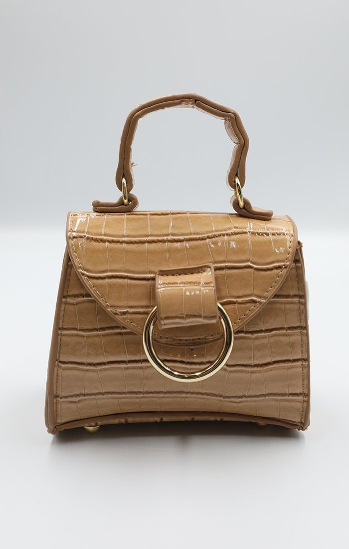 Camel & Gold Hoop Micro Mini Bag - Claire