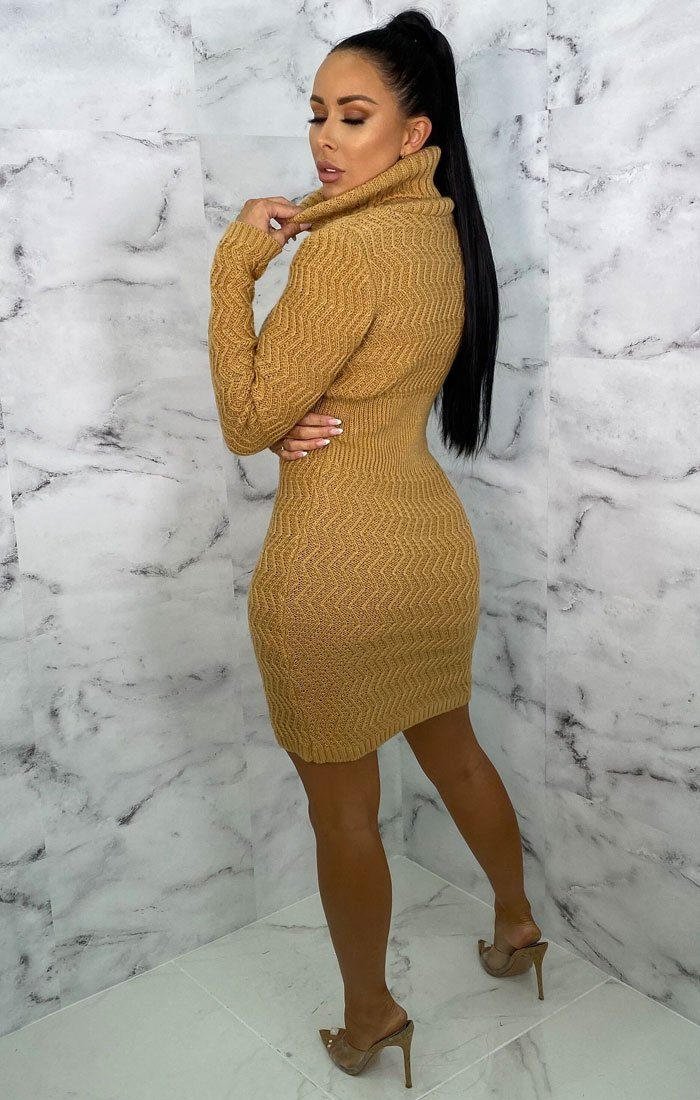 Camel Knitted Roll Neck Button Detail Mini Jumper Dress - Evelyn