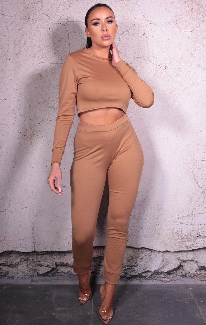 Camel Leggings Crop Top Loungewear Set - Milana