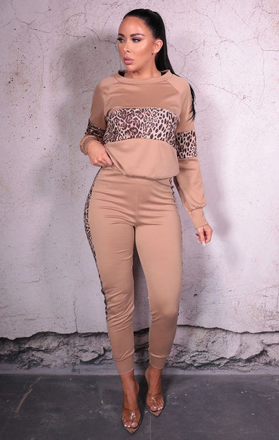 Camel Leopard Print Long Sleeve Loungewear Set - Imogen