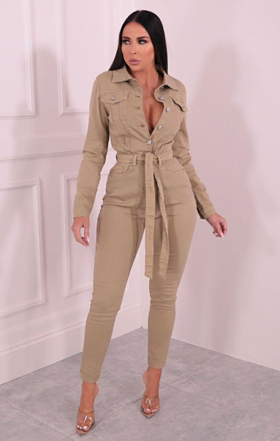 Camel Long Sleeve Belted Button Up Denim Jumpsuit - Kaz