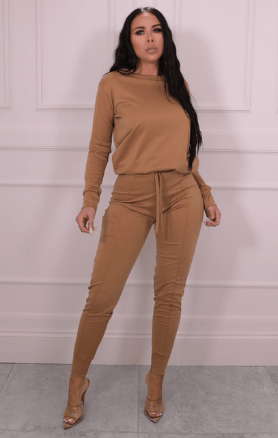 Camel Long Sleeve Top Joggers Loungewear Set - Destiny