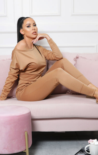 Camel Off Shoulder Loungewear Set – Blake