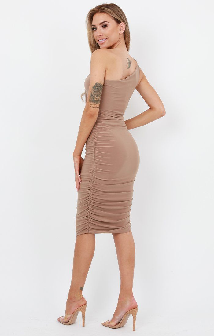 Camel One Shoulder Slinky Midi Dress - Dylan