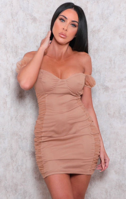 Camel Organza Bardot Bodycon Mini Dress - Sophie