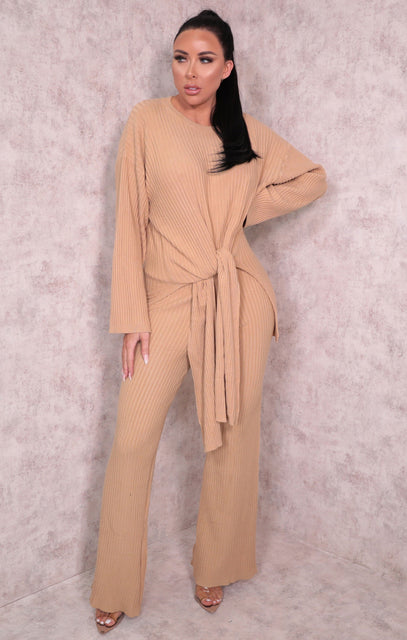 Camel Ribbed Knitted Crew Neck Leggings Loungewear Set - Nancy