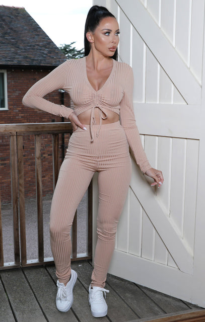 Camel Ribbed Ruched Crop Top Loungewear Set - Mandy