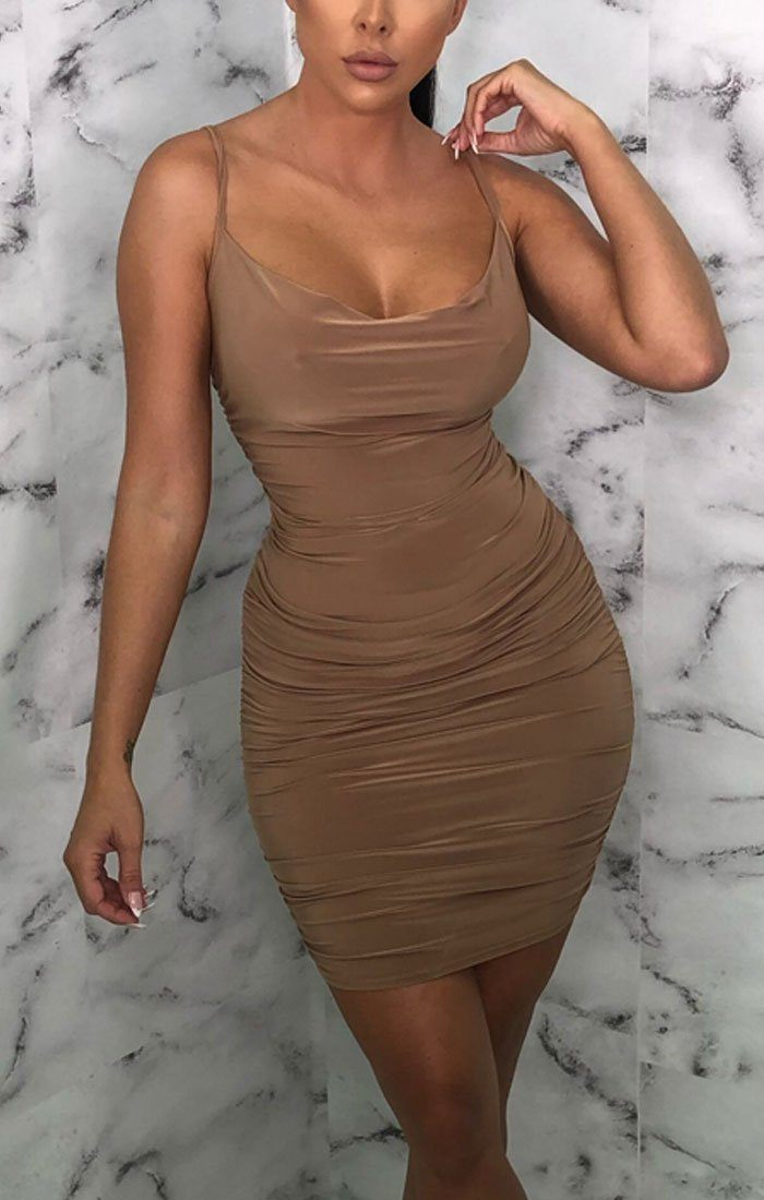 Camel Ruched Cowl Neck Bodycon Mini Dress - Sofie