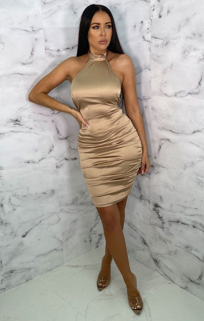 Camel Satin High Neck Chocker Bodycon Mini Dress - Velma