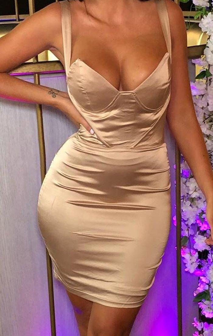 Camel Satin Padded Cup Dress - Amalia