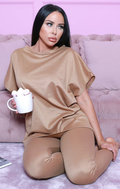 Camel Short Sleeve Boxy Loungewear Set - Lacy