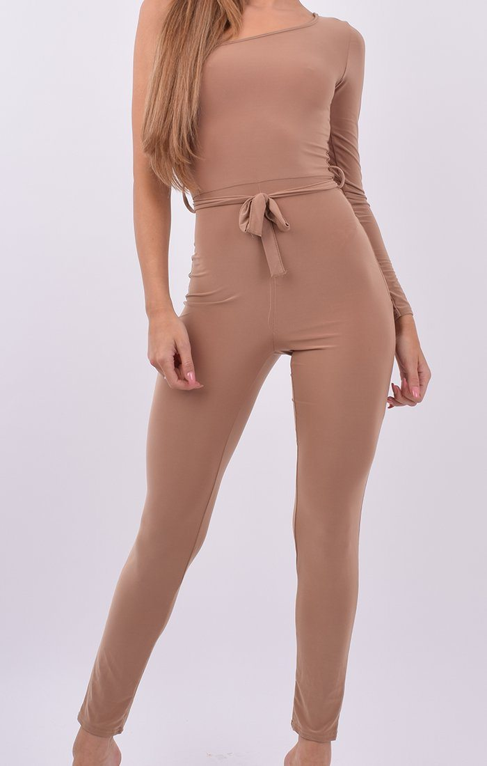 Camel Slinky One Shoulder Jumpsuit - Halle