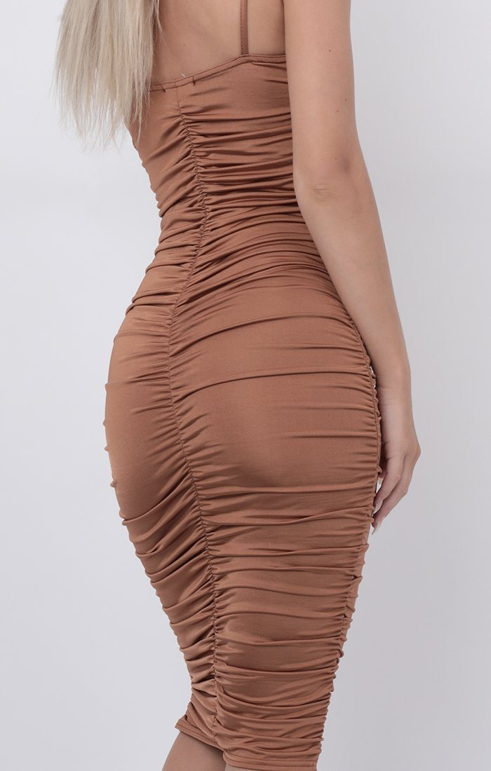 Camel Slinky Ruched Thin Strap Midi Dress - Vienna