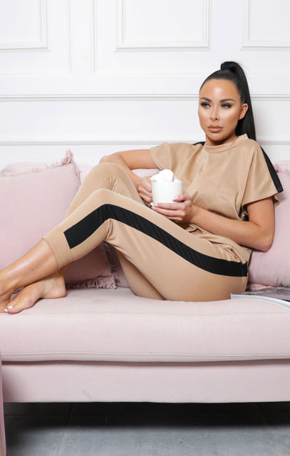 Camel Stripe Boxy Top Loungewear Two Piece Set - Ashley
