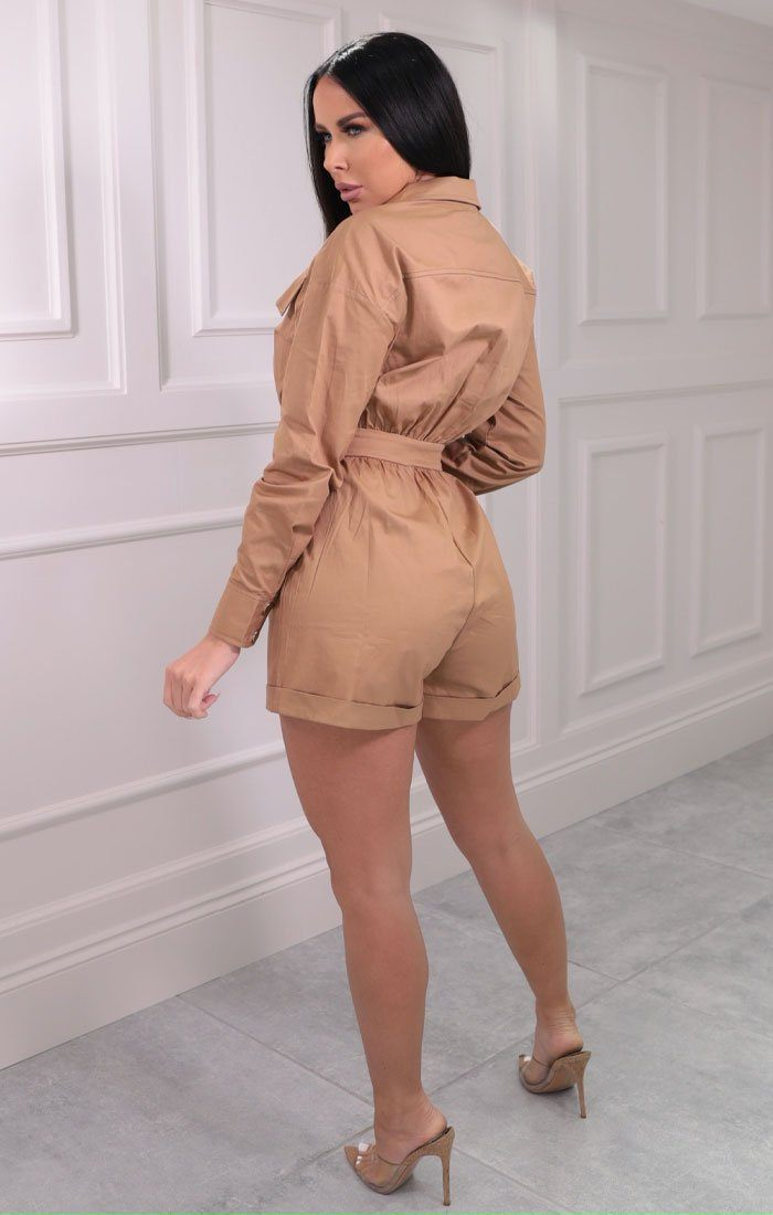 Camel Utility Collar Button Detail Playsuit - Imogen