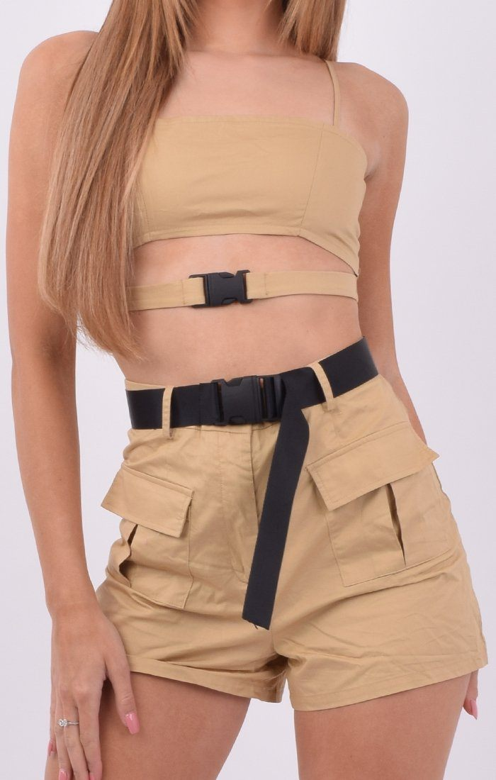Camel Utility Cut Out Crop Top & Shorts Co-ord - Maizie