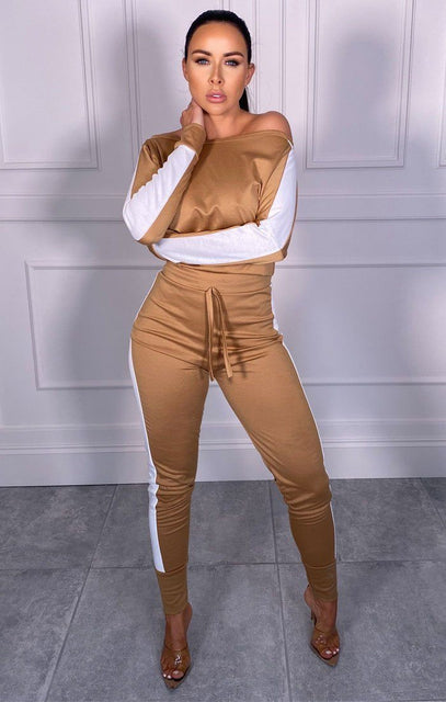 Camel With White Stripe Off Shoulder Loungewear Set - Shani