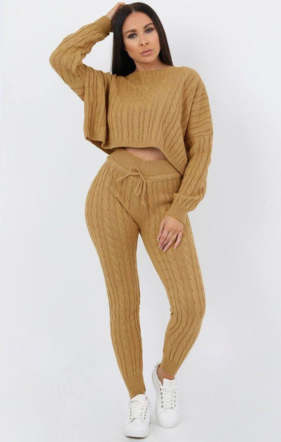 Camel Cable Knit Loungewear Set - Robina