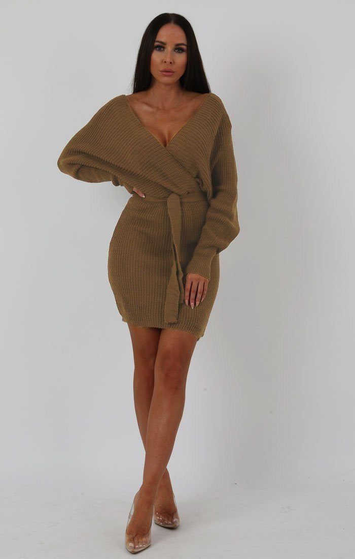 Camel Knit Long Sleeve Tie Front Wrap Dress - Star