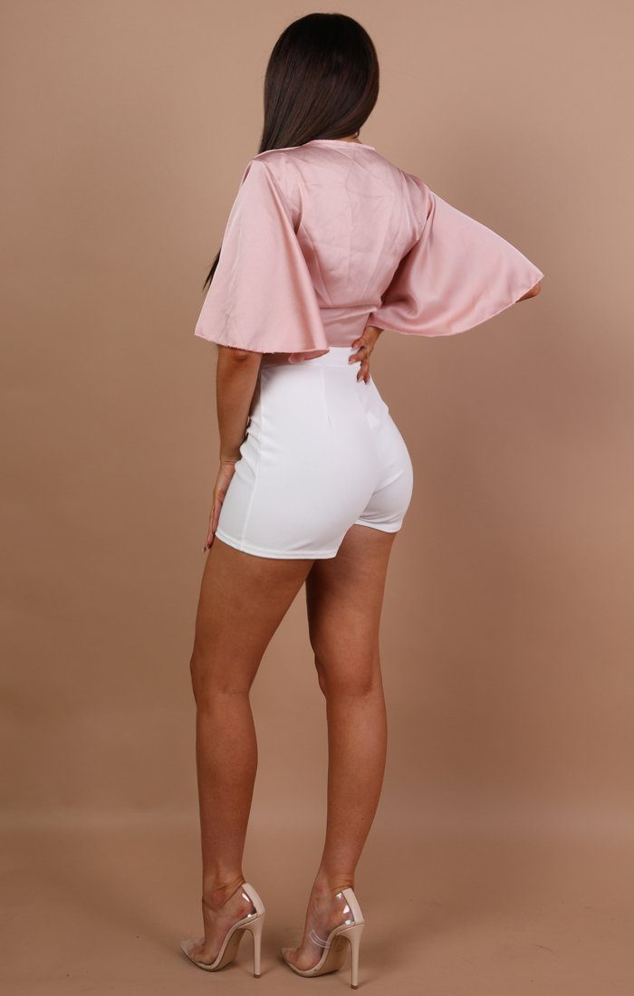Nude Satin Tie Front Crop Top - Larna