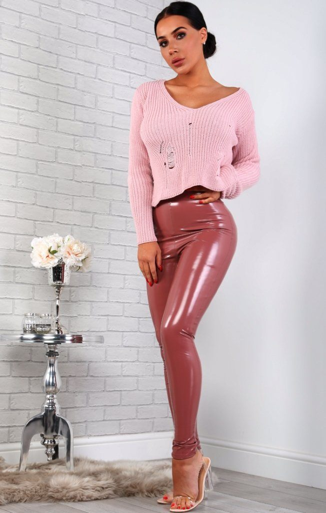Pink Distressed Knitted Cropped Jumper