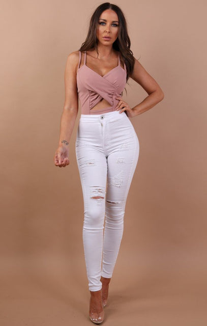 Nude Cut Out Cross Over Bodysuit - Haley