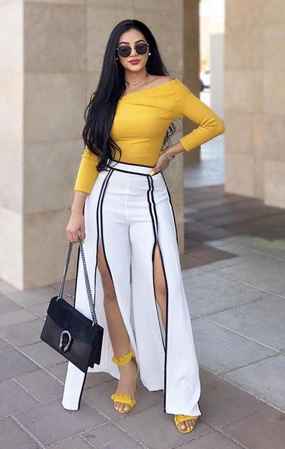 White With Black Contrast Split Leg Trousers - Tori
