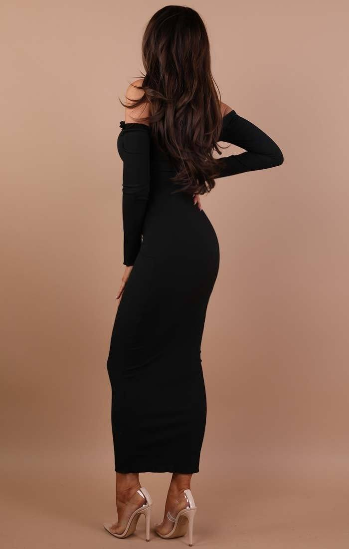 Black Frill Detail Maxi Dress - Jaycee