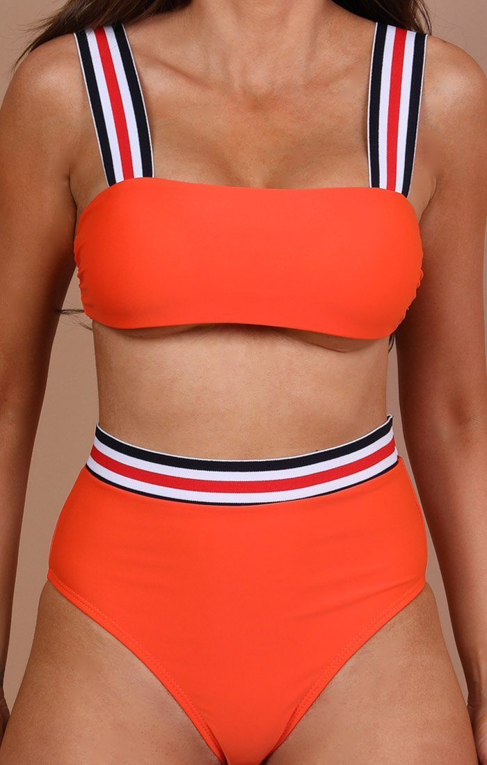 Orange Stripe Detail Bikini Bottoms - Jackie