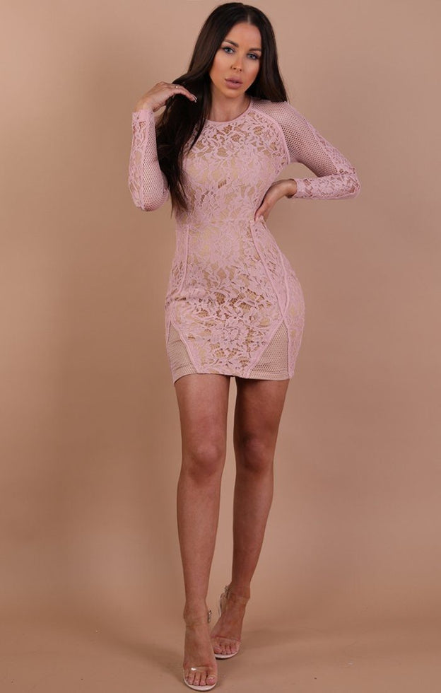 Nude-Mesh-Lace-Bodycon-Dress