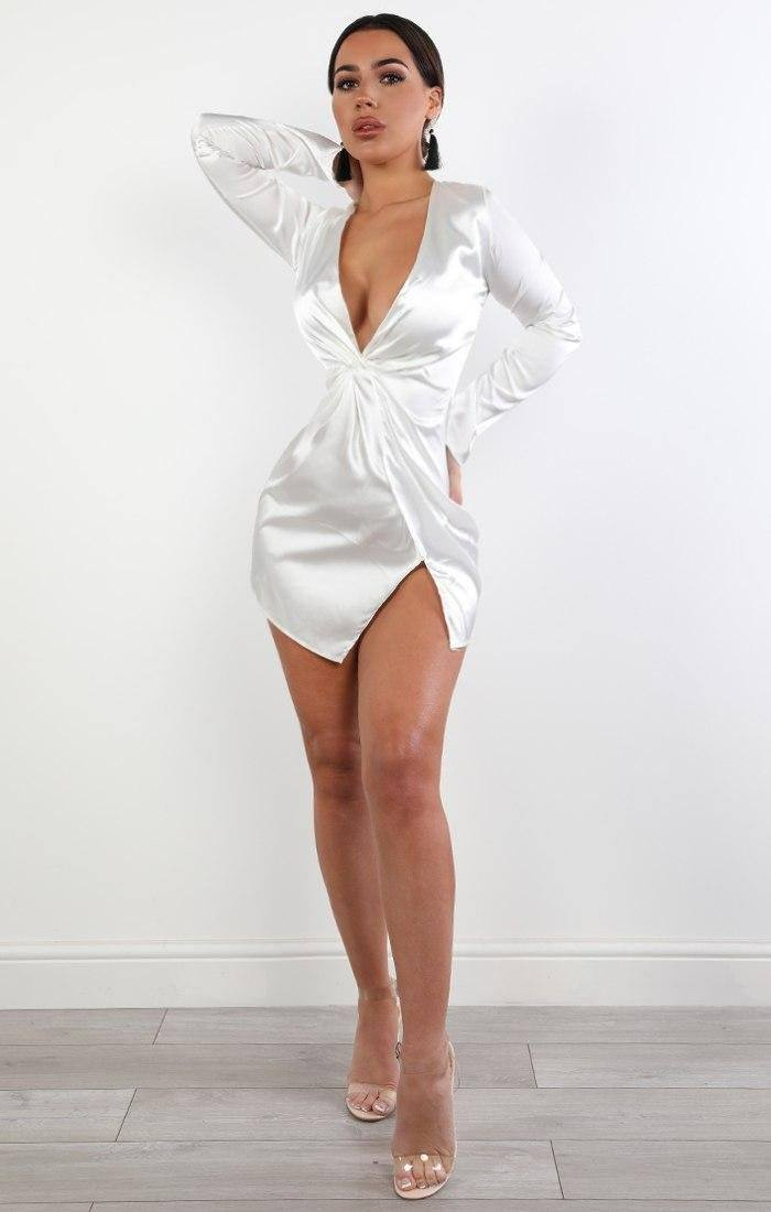 Cream Satin Wrap Dress - Ivy