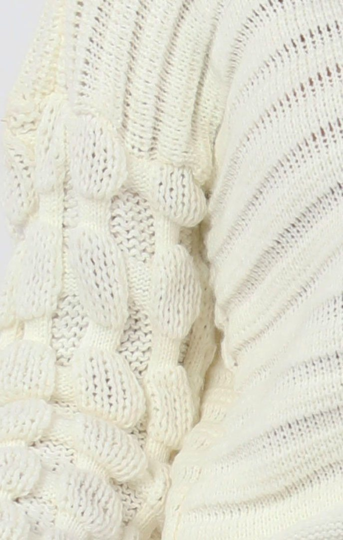 Cream Ribbed Crop Bobble Stitch Knitted Jumper - April