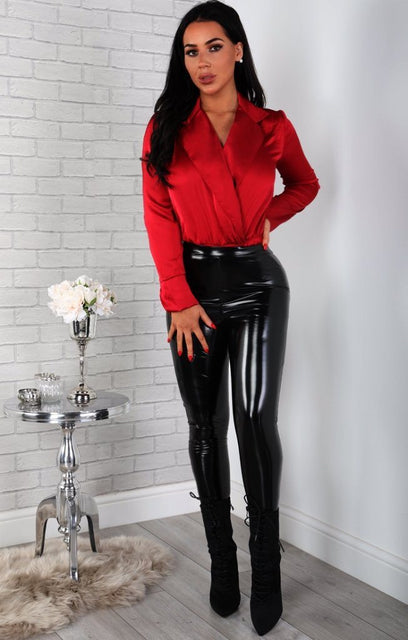 Red Satin Shirt Bodysuit