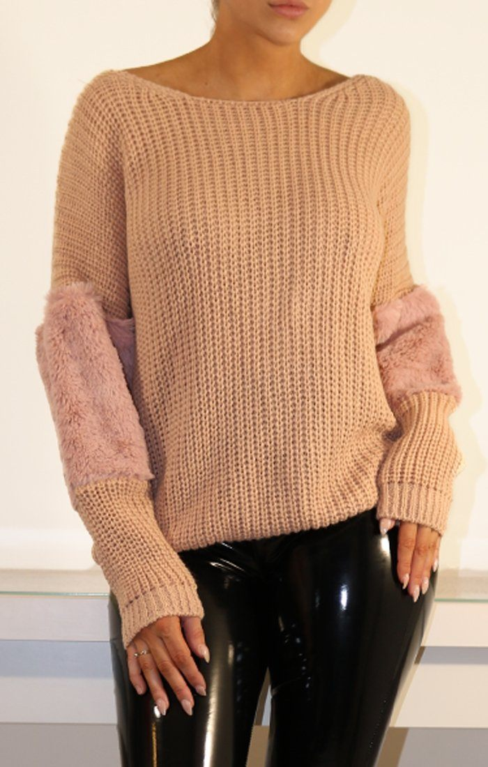Rose Oversized Faux Fur Panel Knitted Jumper