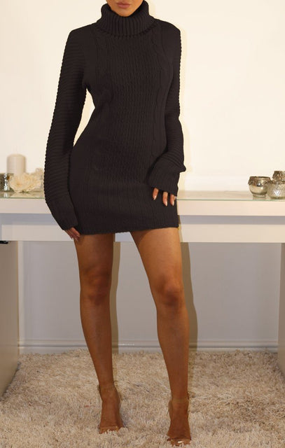 Black Roll Neck Chunky Knit Jumper Dress