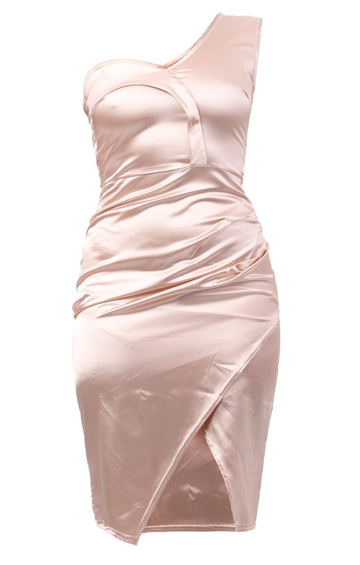 Champagne One Shoulder Wrap Dress - Haley