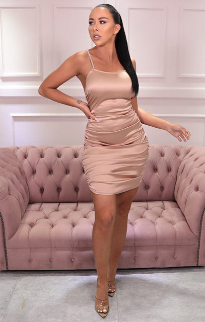 Champagne Satin Diamante Strap Mini Dress - Charlotte