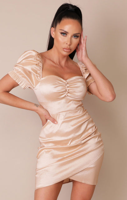 Champagne Satin Puff Sleeve Bodycon Mini Dress - Gabriella NO PRICE DONT PUT LIVE