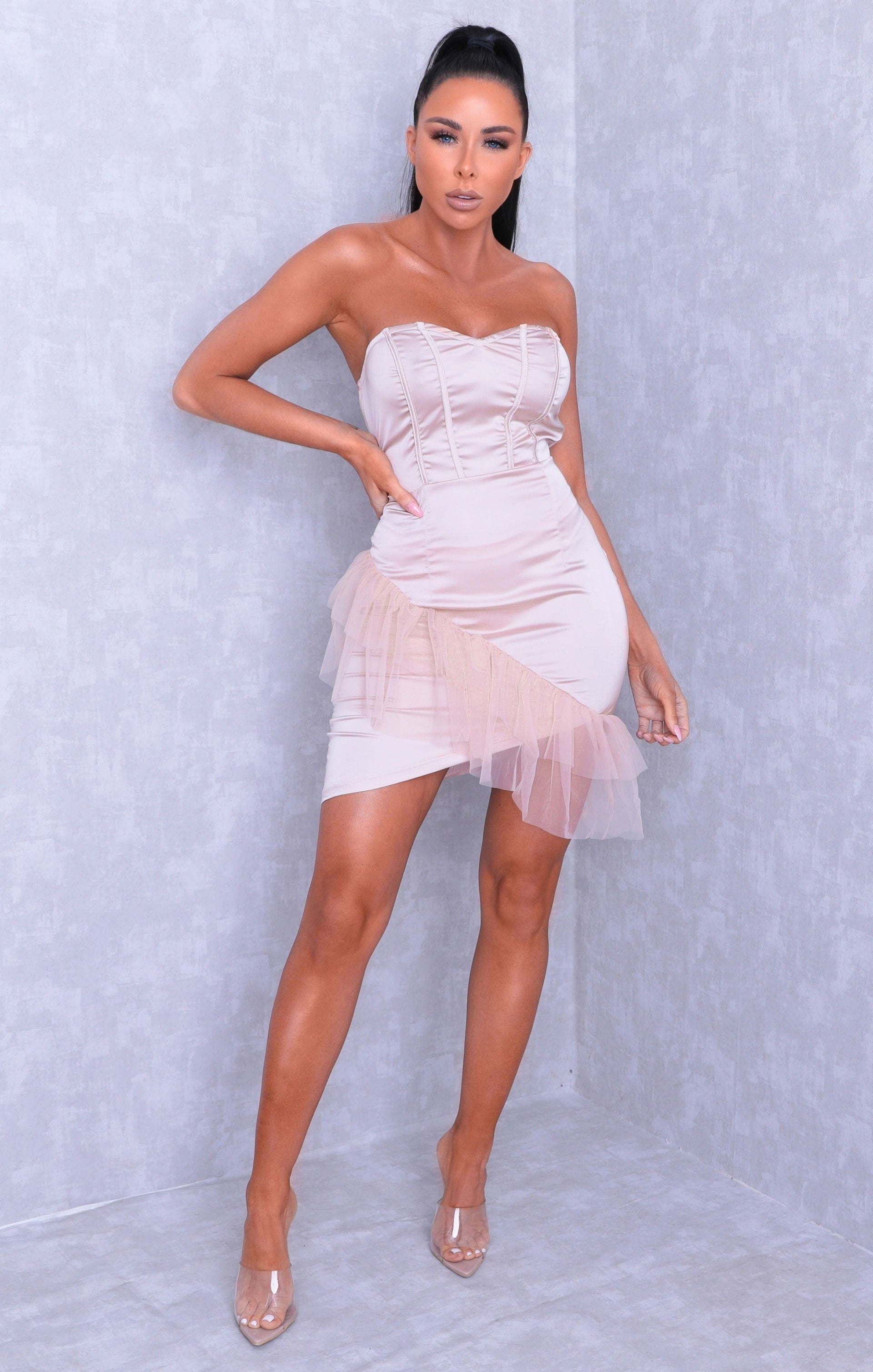 Champagne Satin Strapless Tulle Bodycon Mini Dress - Mia