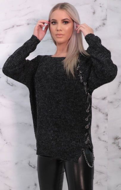 Charcoal Chain Detail Long Sleeve Jumper - Zeta