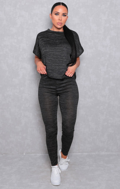 Charcoal Crew Neck Short Sleeve Leggings Loungewear Set - Irene