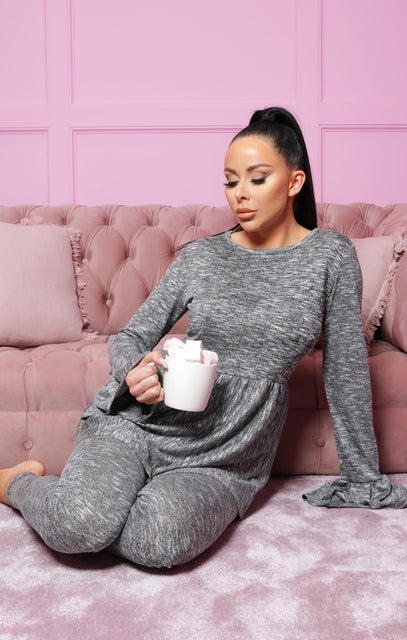 Charcoal Frill Long Line Top Leggings Loungewear Set - Alice