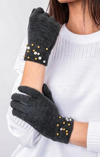 Charcoal Pearl Detail Gloves - Jessie