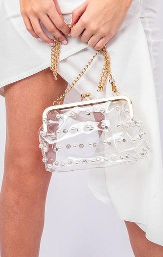 Clear Pearl Detail Gold Chain Shoulder Bag - Mendes